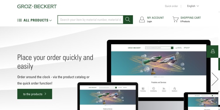 Computer screen and mobile devices showing the start page of the Customer Portal