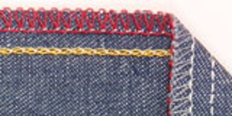 Close-up of a seam on a jeans