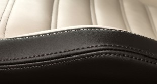 Close-up of seam on a leather car seat
